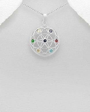 925 Sterling Silver Chakra Pendant & Chain Decorated with CZ Stones